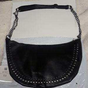 Leather stud shoulder bag